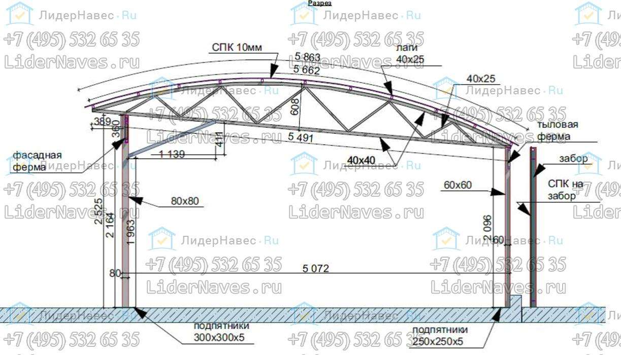 Схема навесов для автомобиля из поликарбоната чертежи